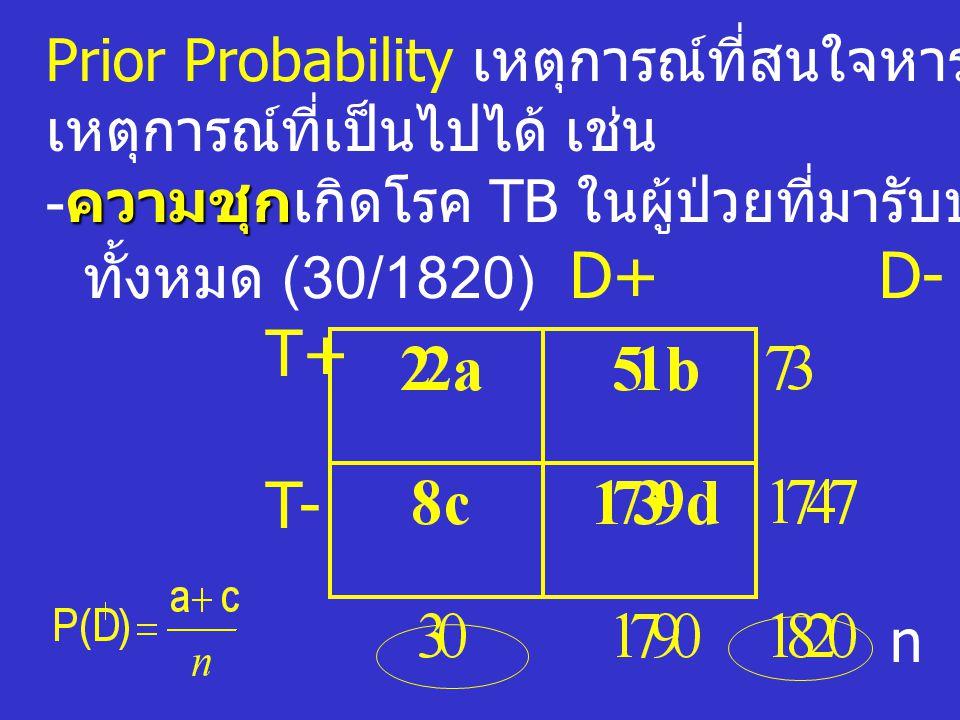 T+ T- Prior Probability เหตุการณ์ที่สนใจหารด้วยจำนวน