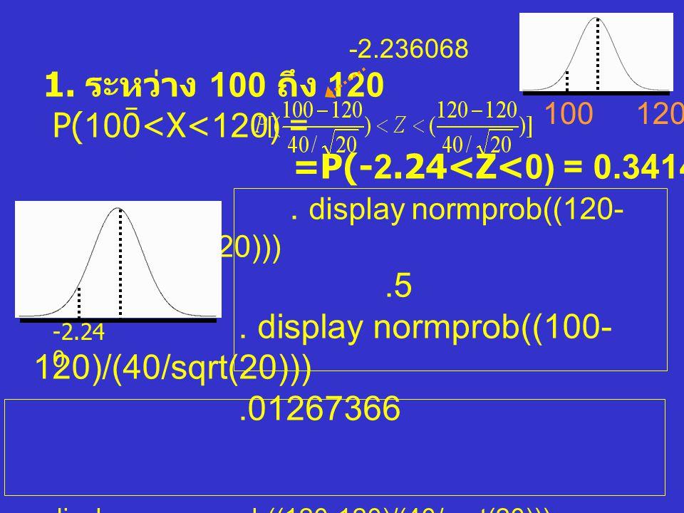 . display normprob((120-120)/(40/sqrt(20))) .5