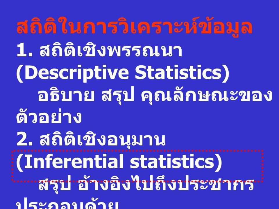 สถิติในการวิเคราะห์ข้อมูล
