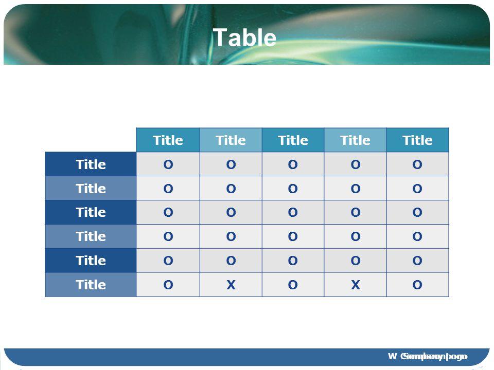 Table Title O X Company Logo
