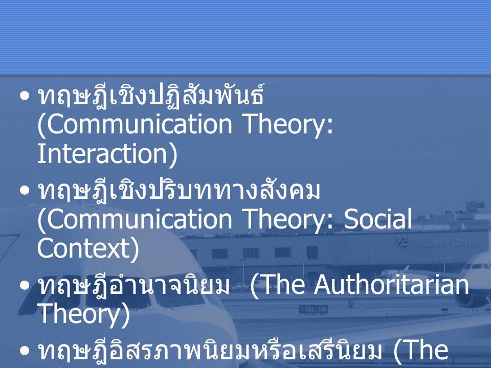 ทฤษฎีเชิงปฏิสัมพันธ์ (Communication Theory: Interaction)