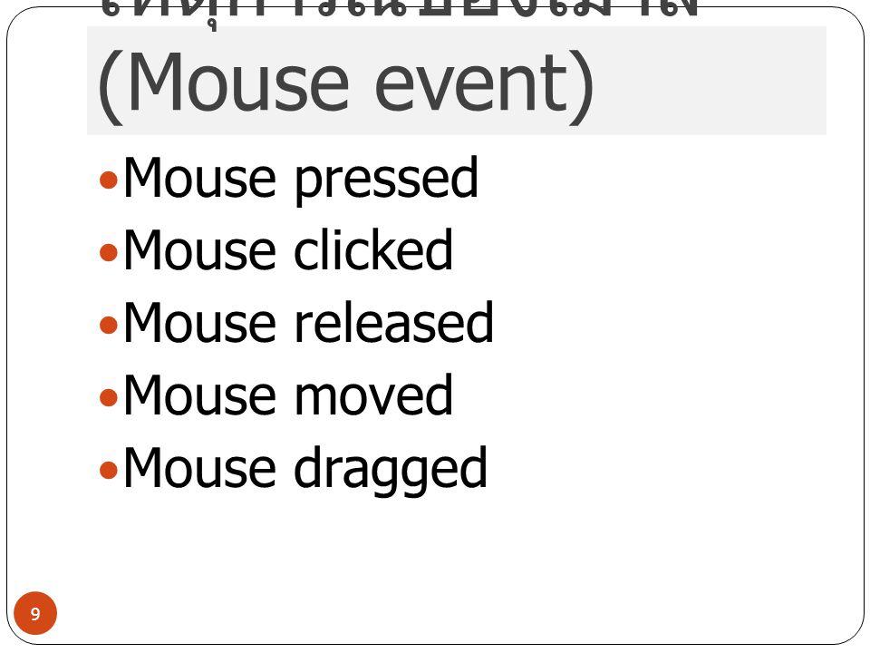 เหตุการณ์ของเมาส์ (Mouse event)