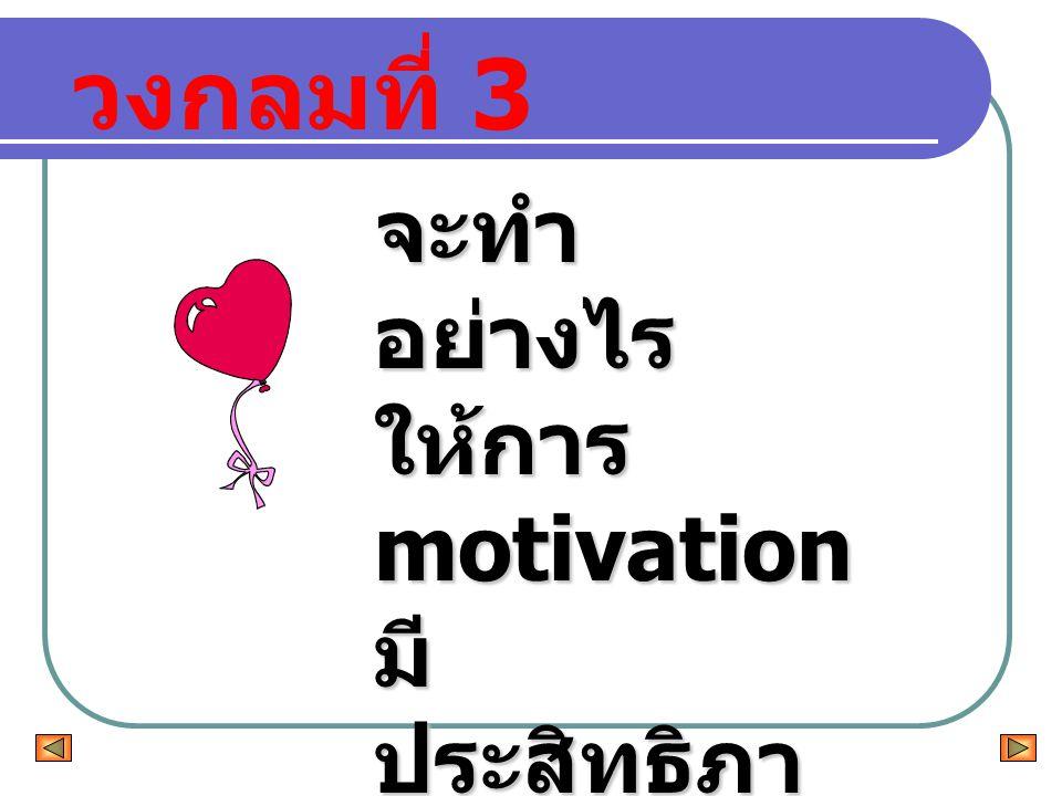 วงกลมที่ 3 จะทำอย่างไร ให้การ motivation มีประสิทธิภาพ