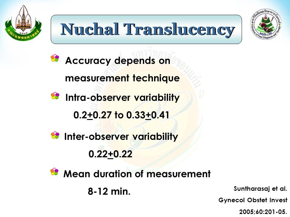 Nuchal Translucency Accuracy depends on measurement technique