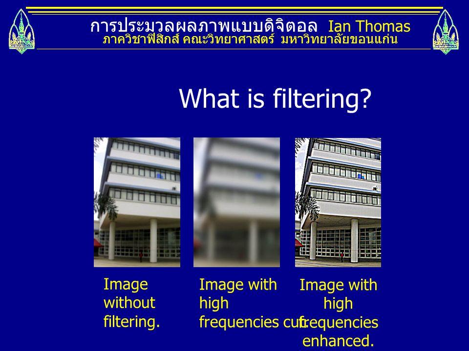 What is filtering การประมวลผลภาพแบบดิจิตอล Ian Thomas