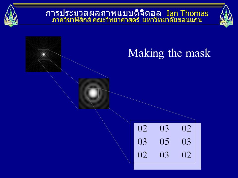 Making the mask การประมวลผลภาพแบบดิจิตอล Ian Thomas