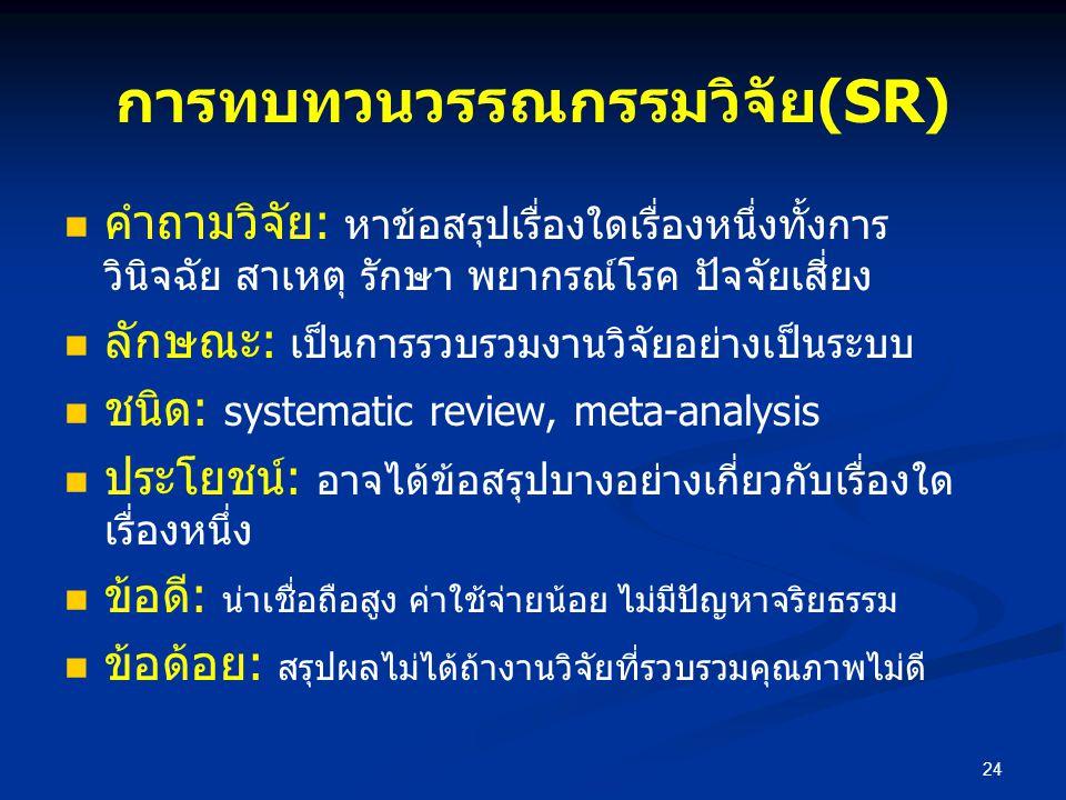การทบทวนวรรณกรรมวิจัย(SR)