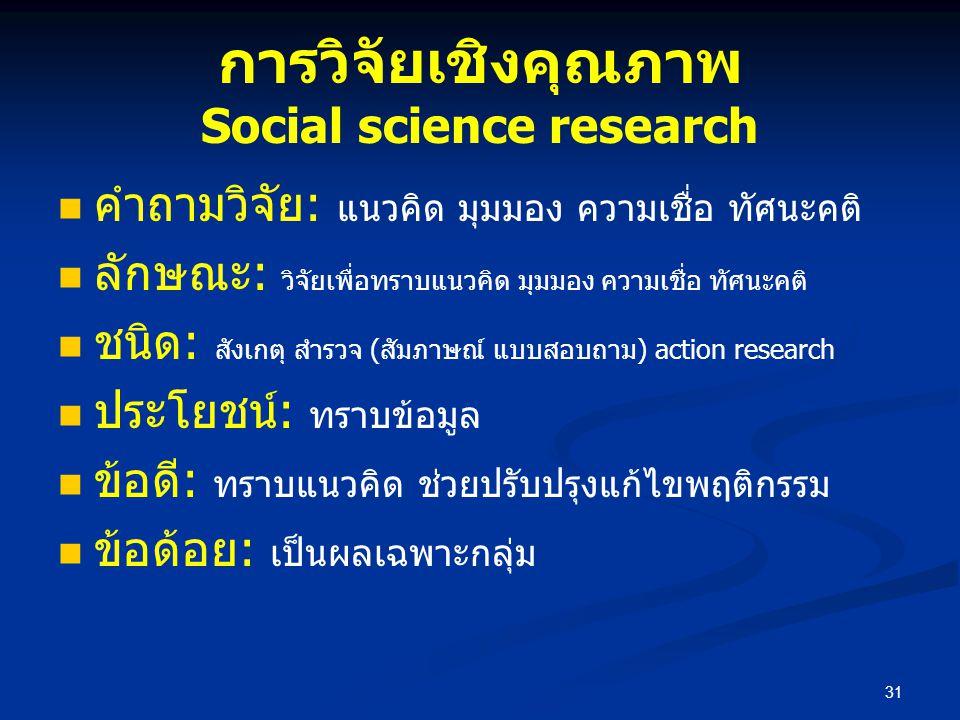 การวิจัยเชิงคุณภาพ Social science research