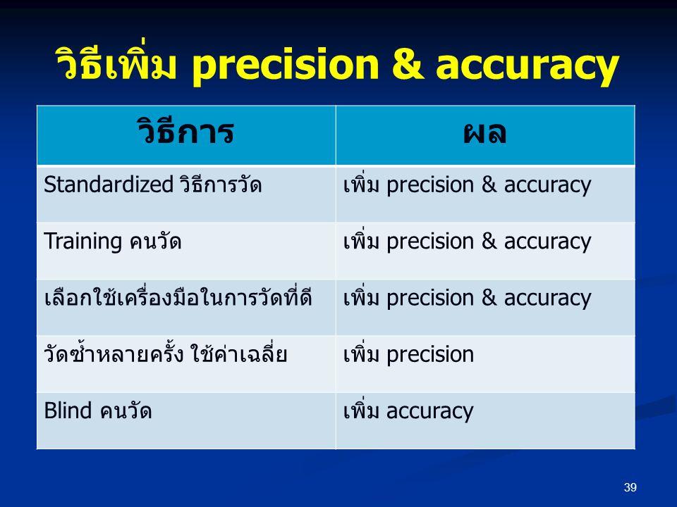 วิธีเพิ่ม precision & accuracy