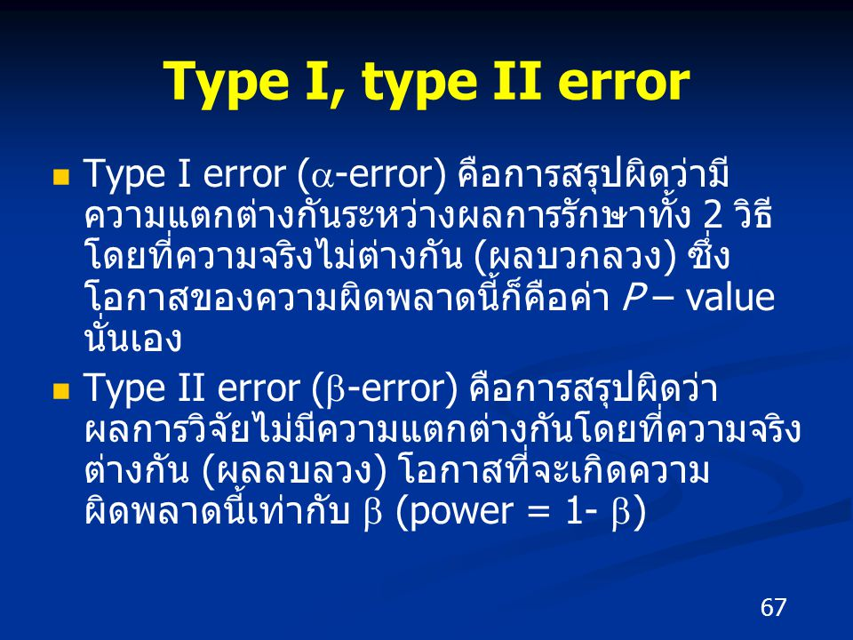 Type I, type II error