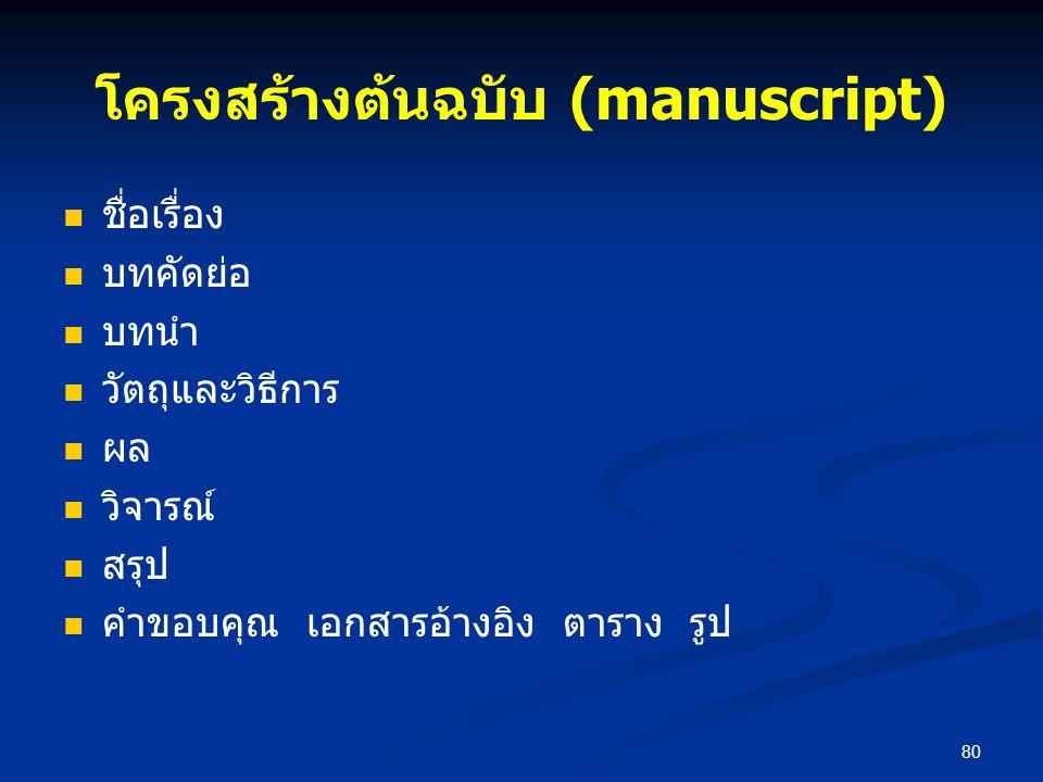 โครงสร้างต้นฉบับ (manuscript)