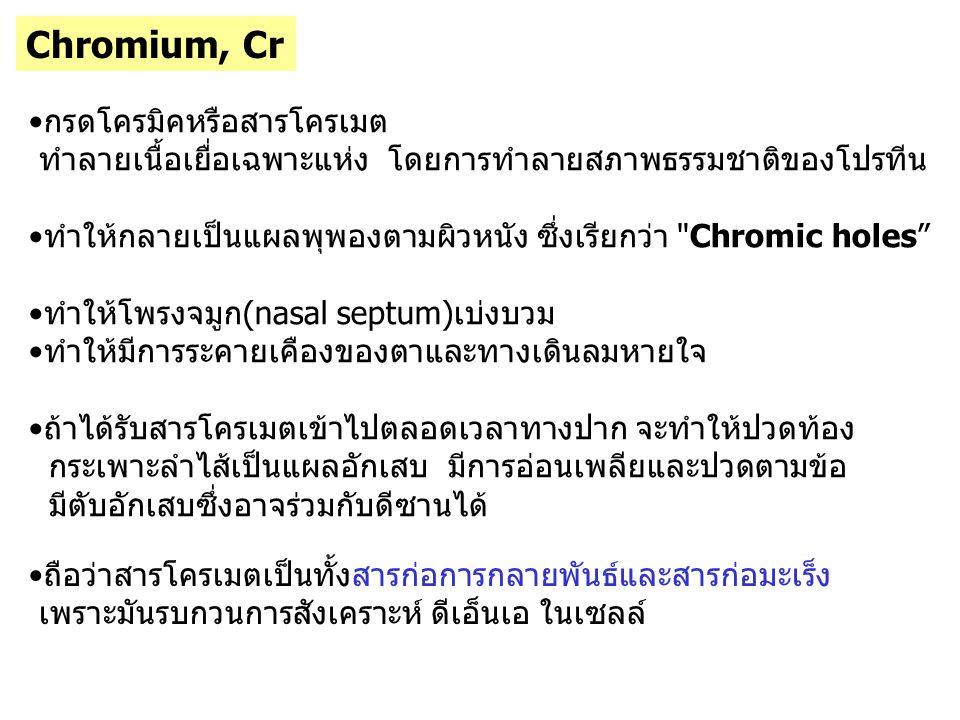 Chromium, Cr กรดโครมิคหรือสารโครเมต
