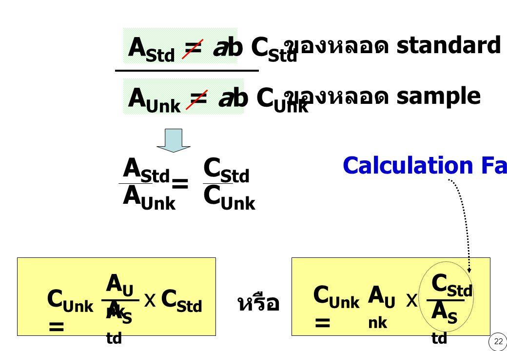 AStd = ab CStd AUnk = ab CUnk AStd AUnk = CStd CUnk ของหลอด standard