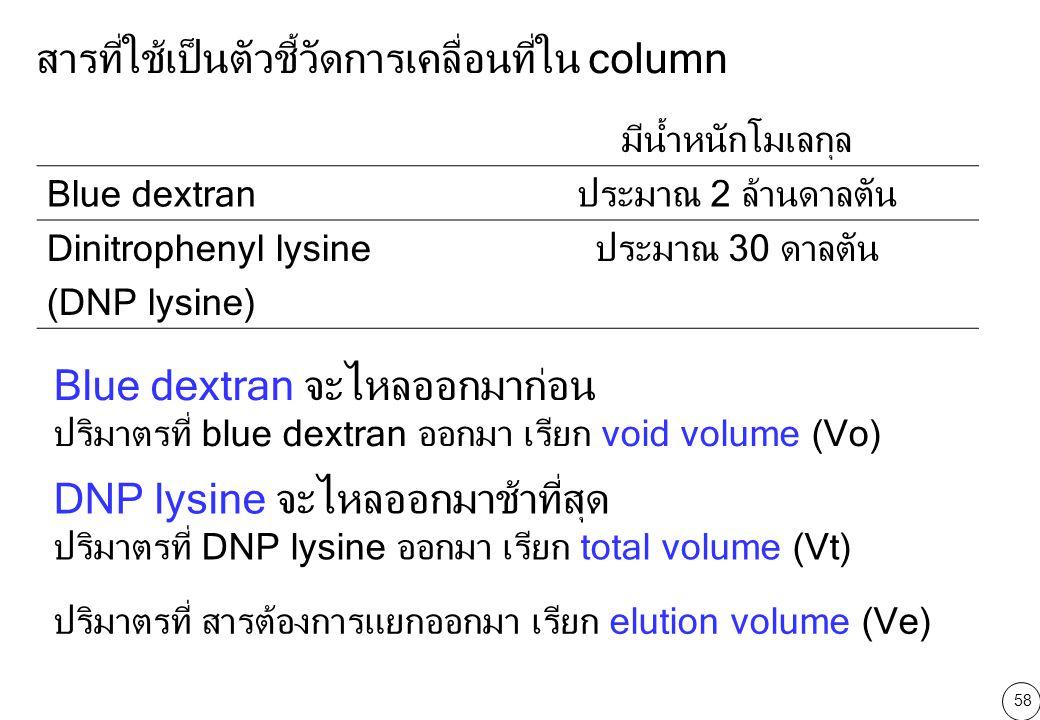 สารที่ใช้เป็นตัวชี้วัดการเคลื่อนที่ใน column