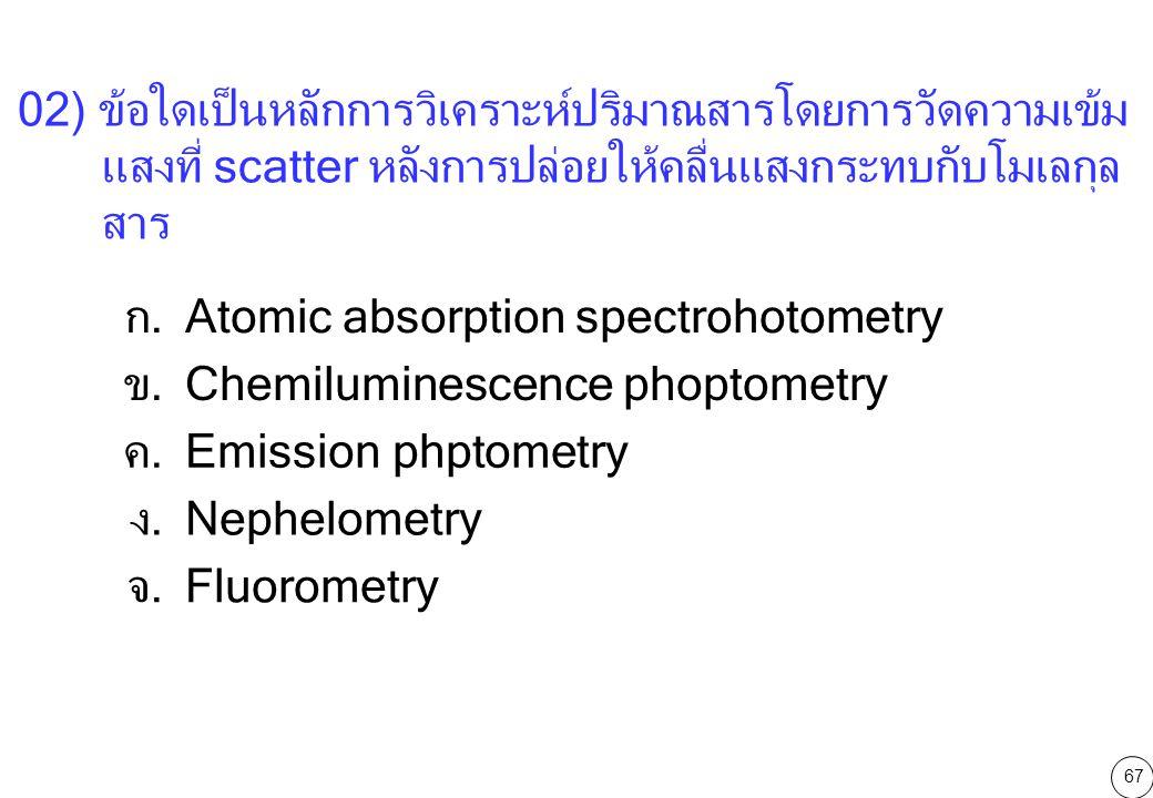 02) ข้อใดเป็นหลักการวิเคราะห์ปริมาณสารโดยการวัดความเข้มแสงที่ scatter หลังการปล่อยให้คลื่นแสงกระทบกับโมเลกุลสาร
