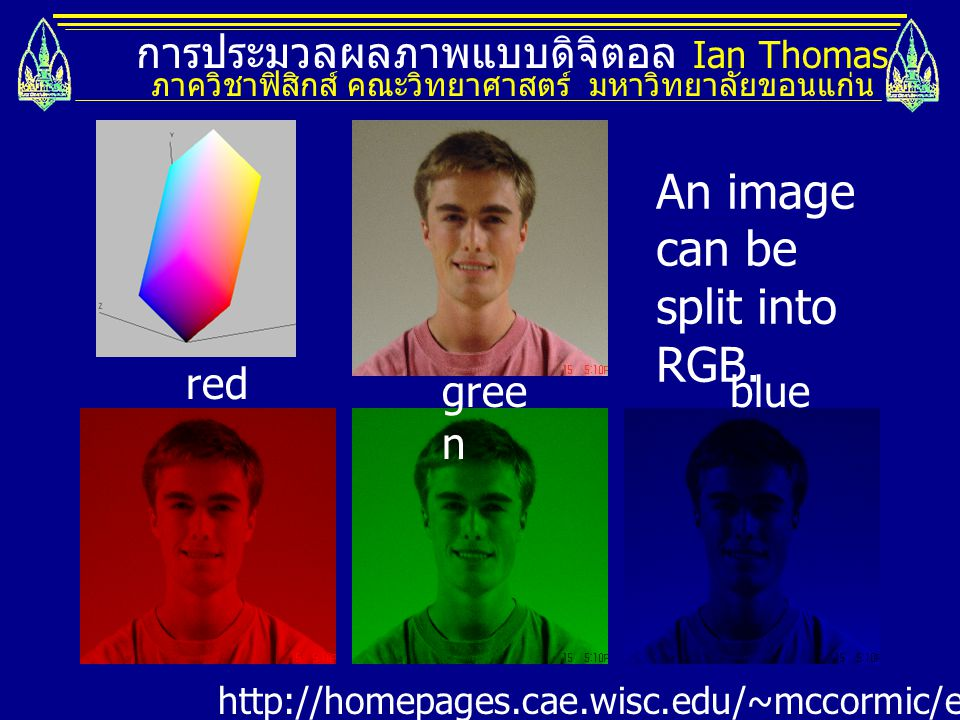 An image can be split into RGB.