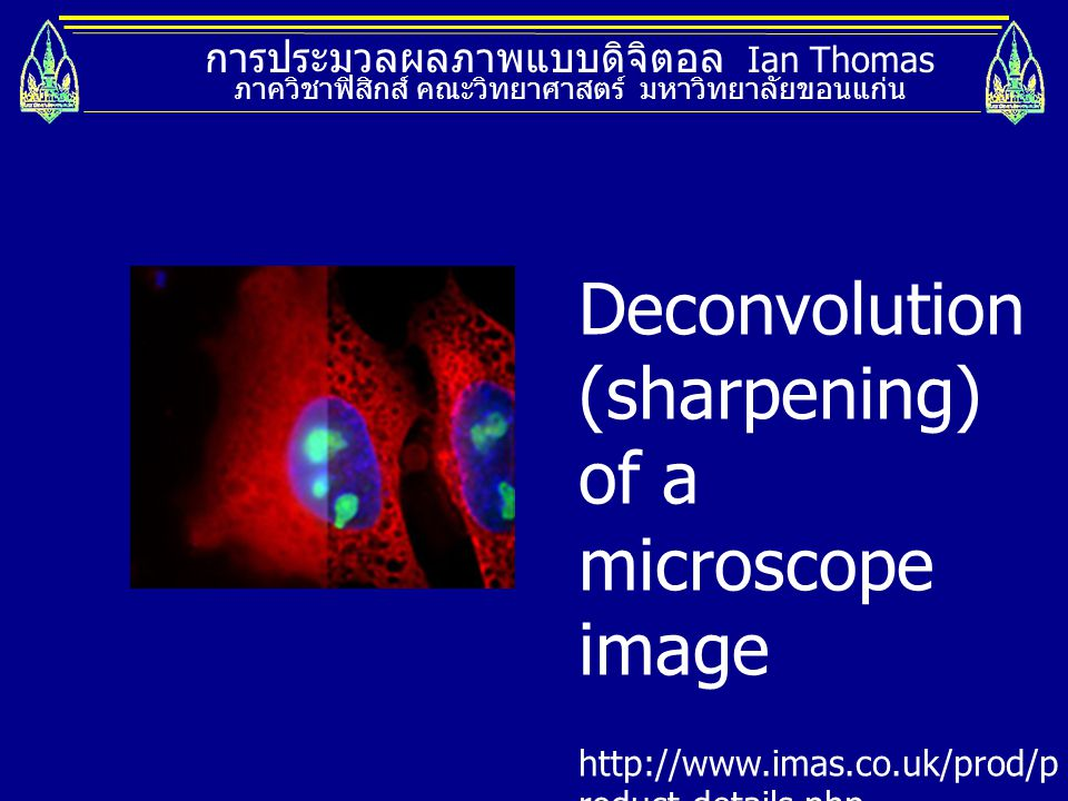 Deconvolution (sharpening) of a microscope image