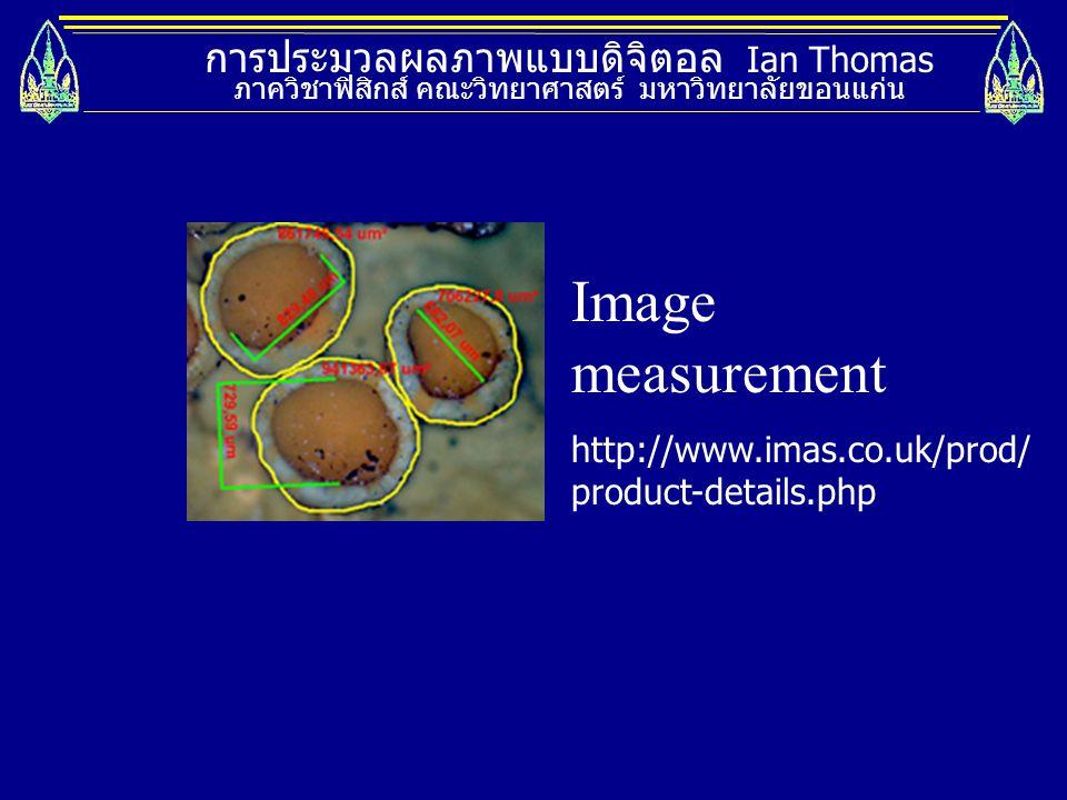 Image measurement การประมวลผลภาพแบบดิจิตอล Ian Thomas