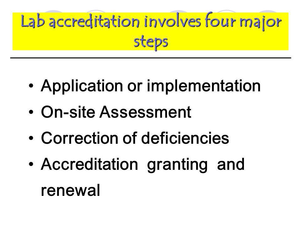 Lab accreditation involves four major steps