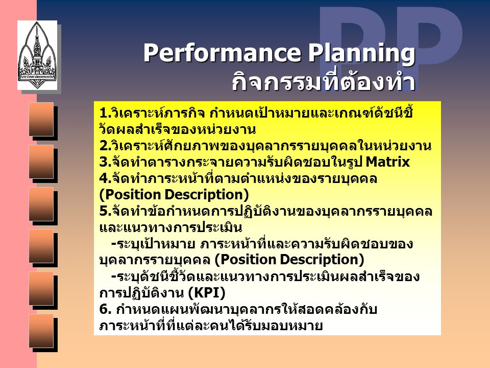 PP Performance Planning กิจกรรมที่ต้องทำ