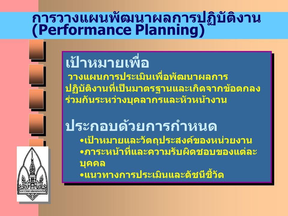 การวางแผนพัฒนาผลการปฏิบัติงาน (Performance Planning)