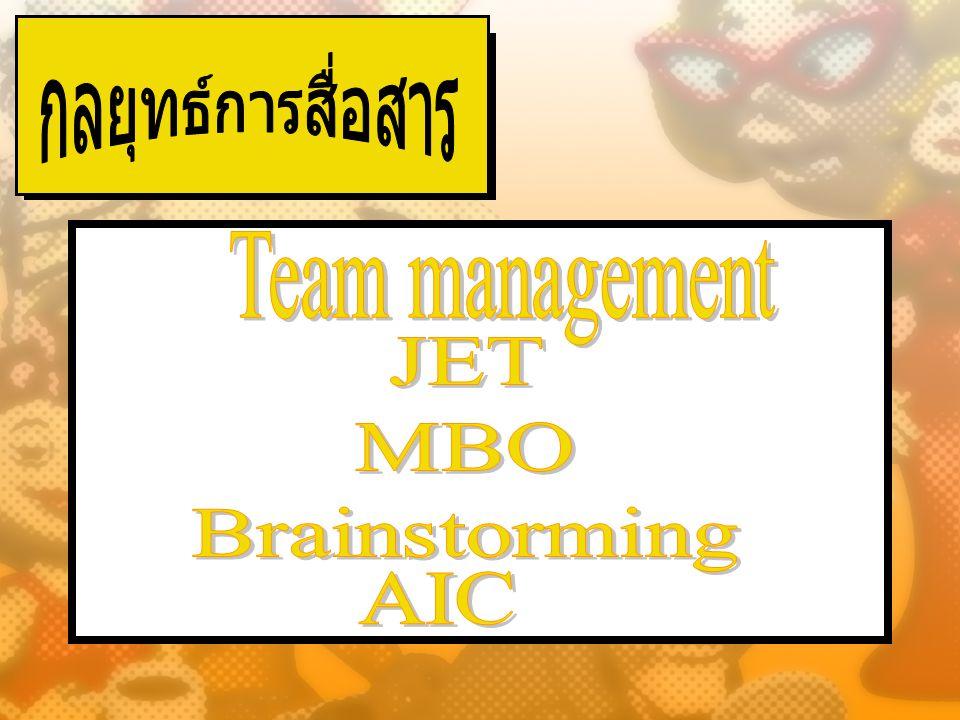 กลยุทธ์การสื่อสาร Team management JET MBO Brainstorming AIC