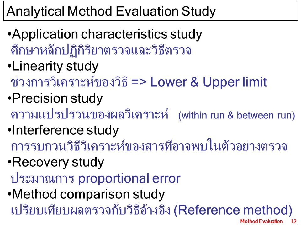 Analytical Method Evaluation Study