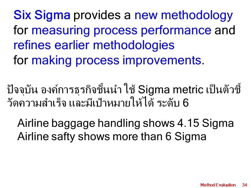 Six Sigma provides a new methodology