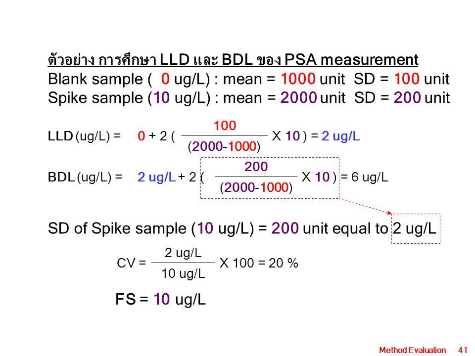 ตัวอย่าง การศึกษา LLD และ BDL ของ PSA measurement