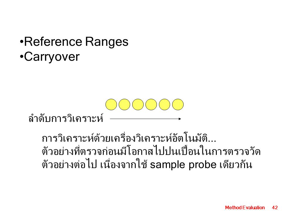 Reference Ranges Carryover ลำดับการวิเคราะห์