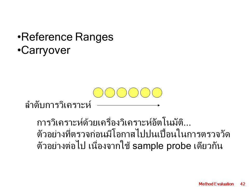 Reference Ranges Carryover ลำดับการวิเคราะห์
