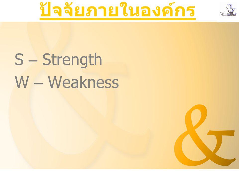 ปัจจัยภายในองค์กร S – Strength W – Weakness