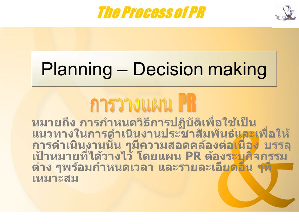 Planning – Decision making