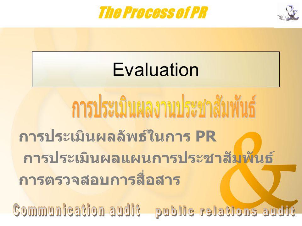 Evaluation The Process of PR การประเมินผลงานประชาสัมพันธ์