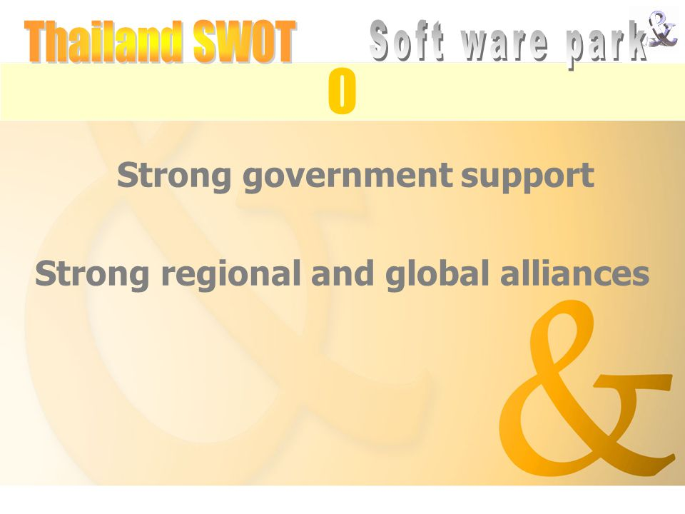 Strong government support Strong regional and global alliances