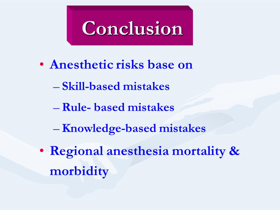 Conclusion Anesthetic risks base on