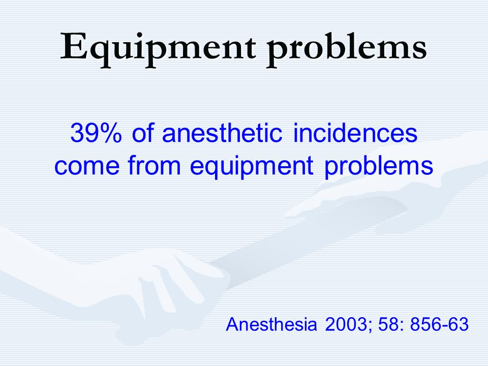 39% of anesthetic incidences come from equipment problems