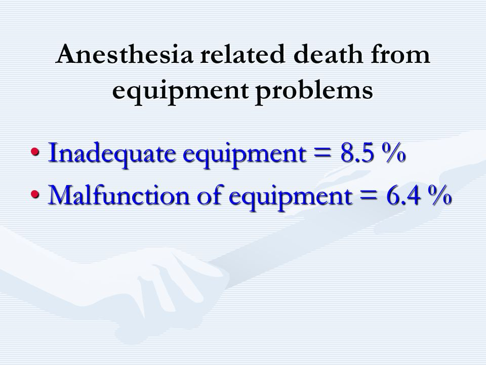 Anesthesia related death from equipment problems
