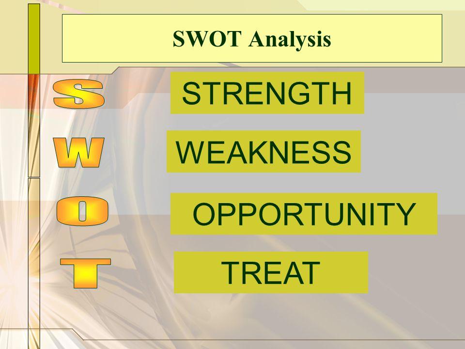 SWOT Analysis STRENGTH S WEAKNESS W OPPORTUNITY O TREAT T