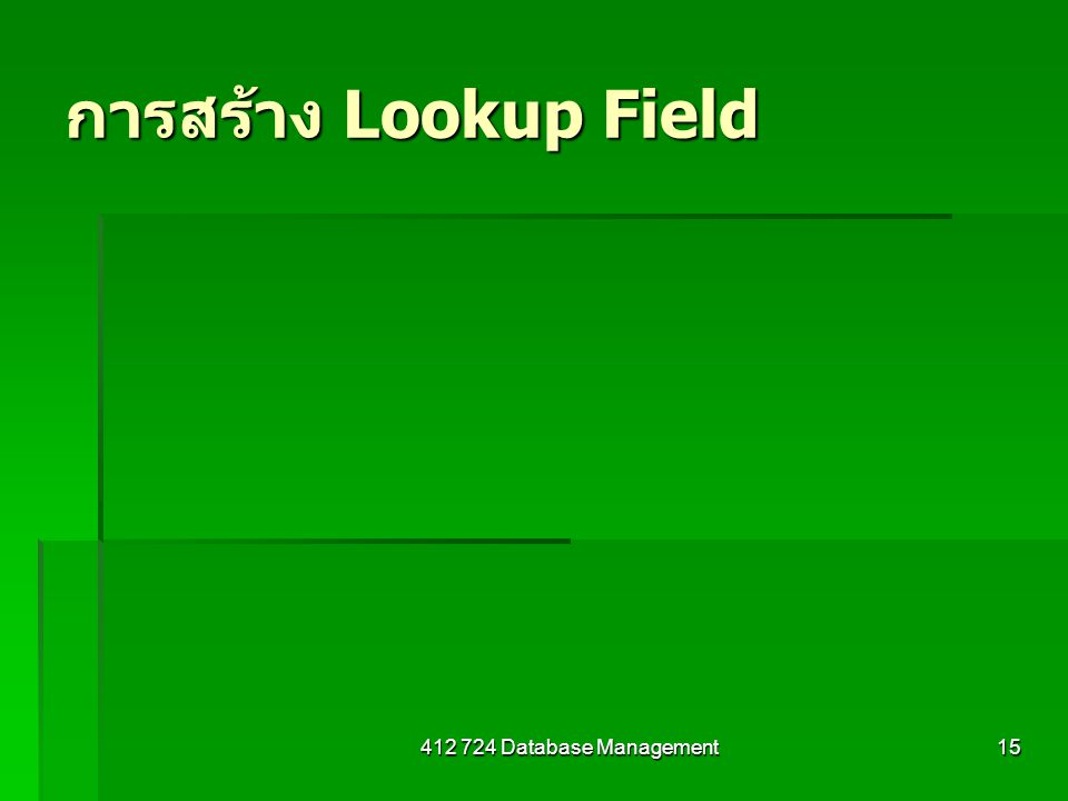 การสร้าง Lookup Field Database Management
