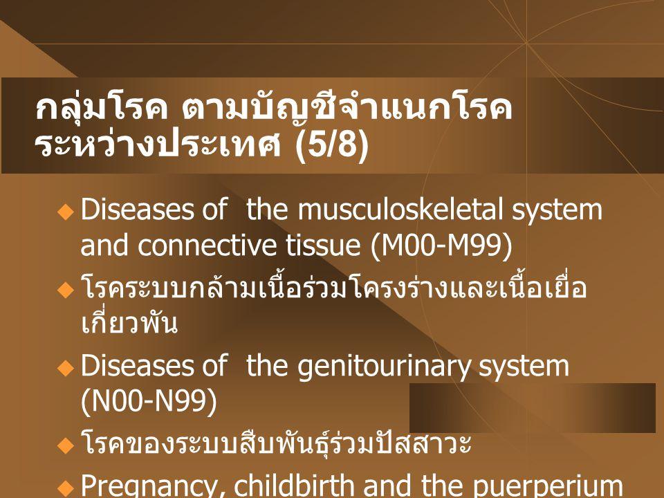 กลุ่มโรค ตามบัญชีจำแนกโรคระหว่างประเทศ (5/8)