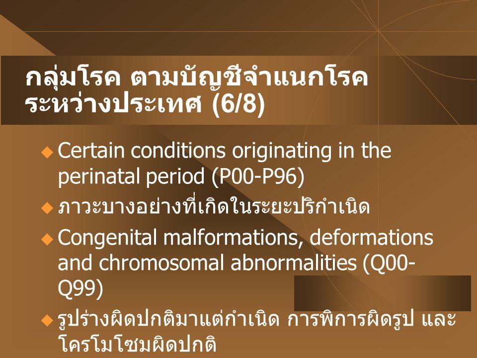 กลุ่มโรค ตามบัญชีจำแนกโรคระหว่างประเทศ (6/8)