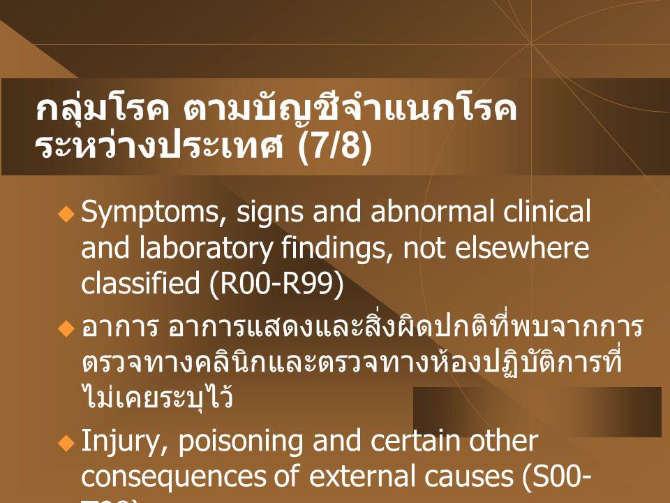 กลุ่มโรค ตามบัญชีจำแนกโรคระหว่างประเทศ (7/8)