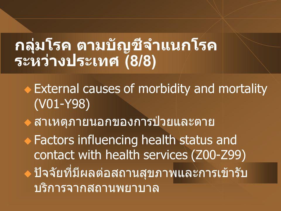 กลุ่มโรค ตามบัญชีจำแนกโรคระหว่างประเทศ (8/8)