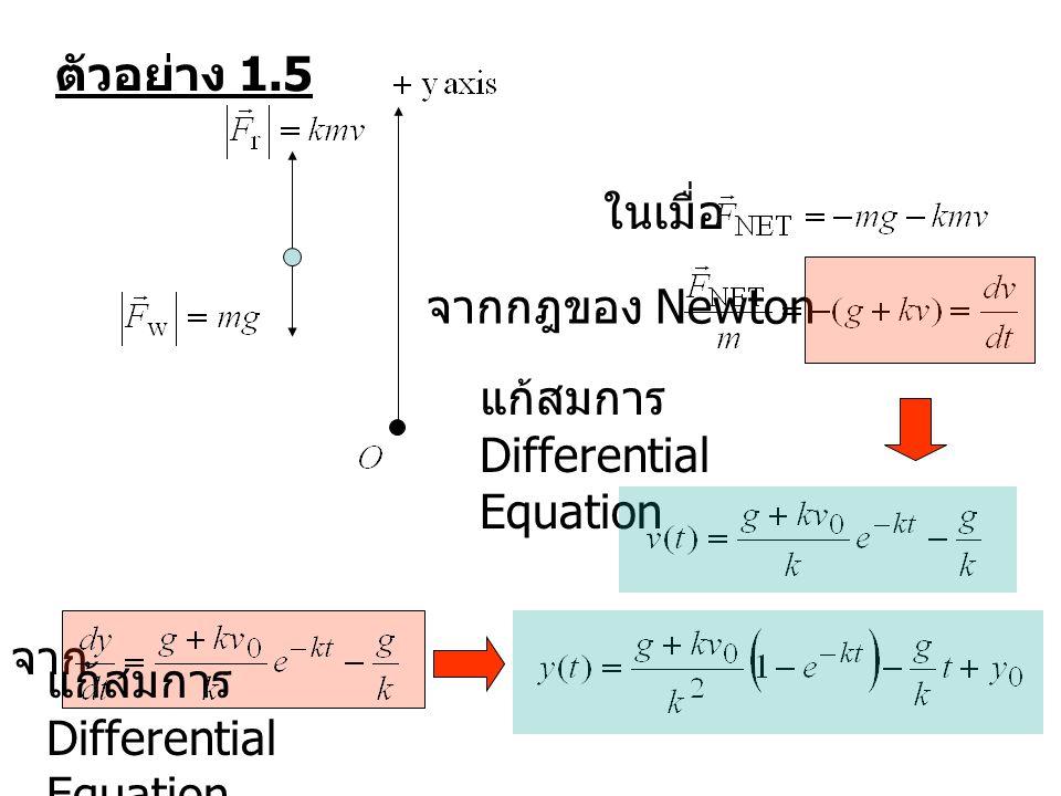 ตัวอย่าง 1.5 ในเมื่อ. จากกฎของ Newton. แก้สมการ Differential Equation.