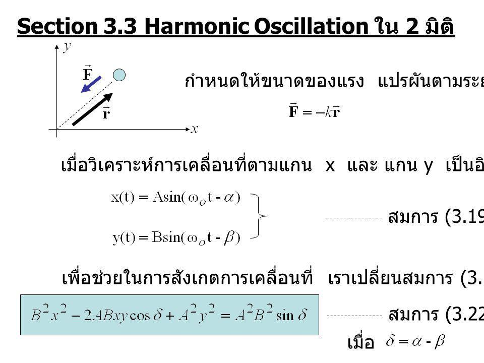 Section 3.3 Harmonic Oscillation ใน 2 มิติ