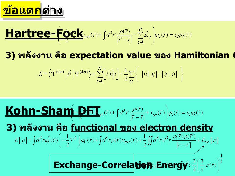 ข้อแตกต่าง Hartree-Fock Kohn-Sham DFT