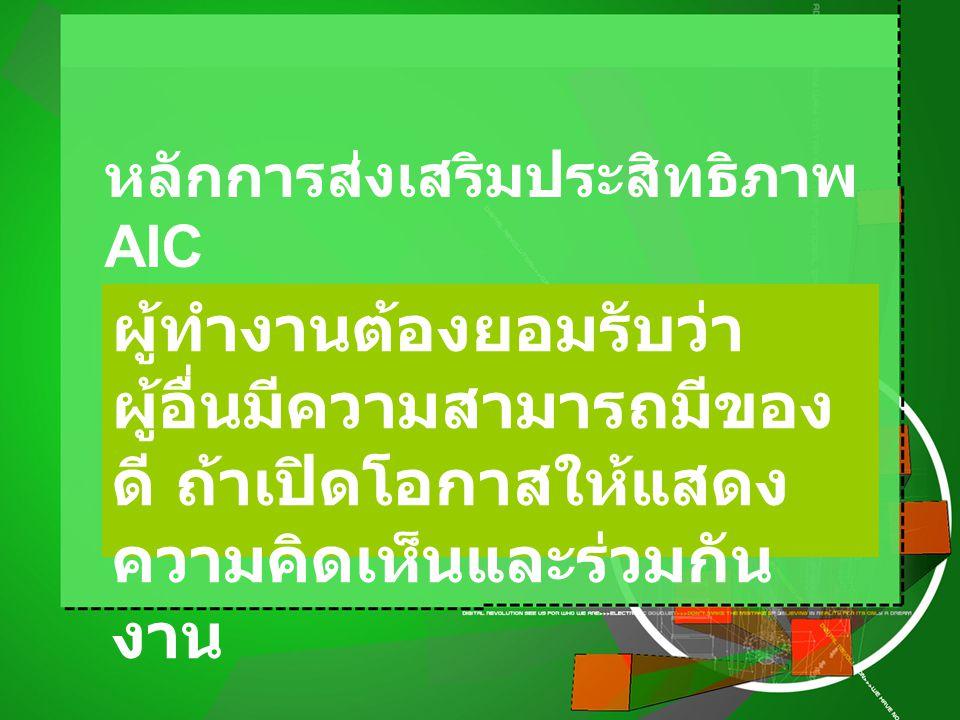 หลักการส่งเสริมประสิทธิภาพ AIC