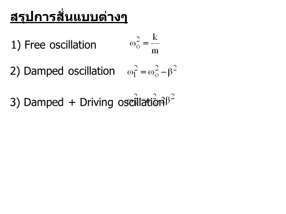 สรุปการสั่นแบบต่างๆ 1) Free oscillation 2) Damped oscillation