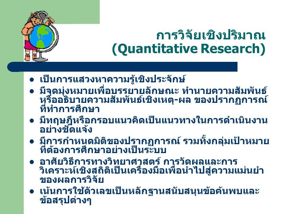 การวิจัยเชิงปริมาณ (Quantitative Research)